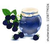 raspberry jam. blackberry jam.... | Shutterstock .eps vector #1158779026