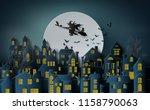 paper art of happy halloween ... | Shutterstock .eps vector #1158790063