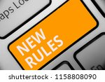 writing note showing new rules. ... | Shutterstock . vector #1158808090