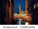 venice canal view at night with ... | Shutterstock . vector #1158813460