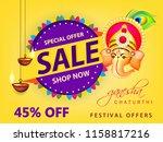 happy ganesh chaturthi design ... | Shutterstock .eps vector #1158817216