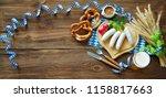 bavarian sausages with pretzels ... | Shutterstock . vector #1158817663
