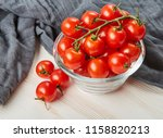 fresh red cherry tomatoes in... | Shutterstock . vector #1158820213