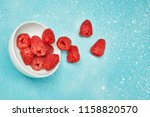fresh red raspberry on color... | Shutterstock . vector #1158820570