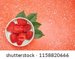 fresh red raspberry on color... | Shutterstock . vector #1158820666