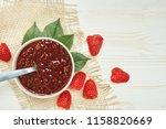 raspberries jam with fresh red...   Shutterstock . vector #1158820669