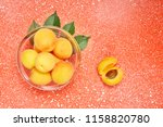 ripe organic apricots with... | Shutterstock . vector #1158820780