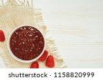 raspberries jam with fresh red...   Shutterstock . vector #1158820999
