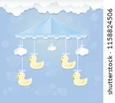 baby mobile with duckling toy... | Shutterstock .eps vector #1158824506