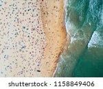 crowd beach aerial photo | Shutterstock . vector #1158849406