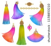 detailed rainbow tassels | Shutterstock . vector #1158853210