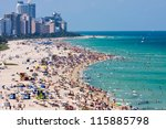 Miami south beach, view from port entry channel. - stock photo