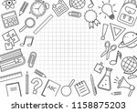 frame with school supplies on... | Shutterstock .eps vector #1158875203