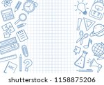 frame with school supplies on... | Shutterstock .eps vector #1158875206
