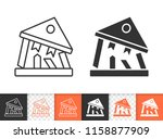 bank collapse black linear and... | Shutterstock .eps vector #1158877909