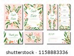 wedding card templates set with ... | Shutterstock .eps vector #1158883336