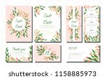 wedding card templates set with ... | Shutterstock .eps vector #1158885973