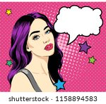 pop art cute woman with curly... | Shutterstock .eps vector #1158894583