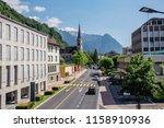 central street of alpine town... | Shutterstock . vector #1158910936