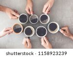 people hands holding cups of... | Shutterstock . vector #1158923239
