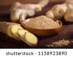 ginger root and ginger powder...   Shutterstock . vector #1158923890