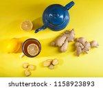 ginger tea with lemon on yellow ...   Shutterstock . vector #1158923893