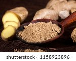 ginger root and ginger powder...   Shutterstock . vector #1158923896