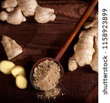 ginger root and ginger powder...   Shutterstock . vector #1158923899