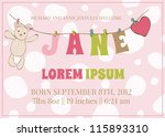 Baby Girl Arrival Card With...