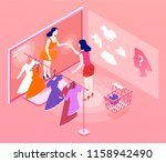 a girl in heels trying on a...   Shutterstock .eps vector #1158942490