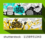 barbecue banner posters grilled ... | Shutterstock .eps vector #1158951343