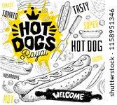 hot dogcafe restaurant menu.... | Shutterstock .eps vector #1158951346