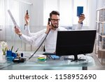 smiling young businessman doing ... | Shutterstock . vector #1158952690