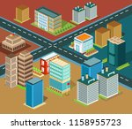 isometric city  colorful... | Shutterstock .eps vector #1158955723
