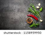 selection of spices herbs and... | Shutterstock . vector #1158959950