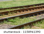 a fragment of tram rails laid... | Shutterstock . vector #1158961390