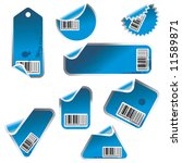 blue vector tag and sticker set ... | Shutterstock .eps vector #11589871