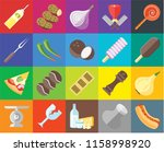 set of 20 icons such as hot dog ... | Shutterstock .eps vector #1158998920