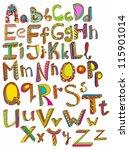 color hand drawn alphabet ... | Shutterstock . vector #115901014