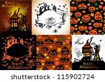 set of halloween cards for... | Shutterstock .eps vector #115902724