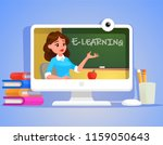 e learning  a teacher on the... | Shutterstock .eps vector #1159050643