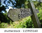 Old Wooden Public Footpath Sign
