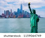 the statue of liberty with... | Shutterstock . vector #1159064749