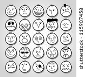 set of hand drawn funny cartoon ... | Shutterstock .eps vector #115907458