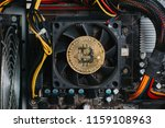 bitcoin on motherboard.   Shutterstock . vector #1159108963