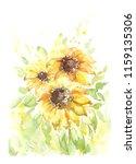 bouquet of sunflowers ... | Shutterstock . vector #1159135306