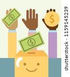 multiethnic hands with money... | Shutterstock .eps vector #1159145239