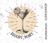 halloween hand drawn cocktail... | Shutterstock .eps vector #1159154929