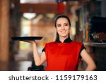 smiling waitress holding tray... | Shutterstock . vector #1159179163