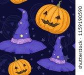 orange pumpkin and wizard hat   ... | Shutterstock .eps vector #1159190590